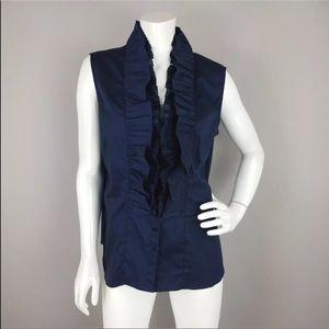 Katherine Barclay XL ruffled Navy sleeveless top